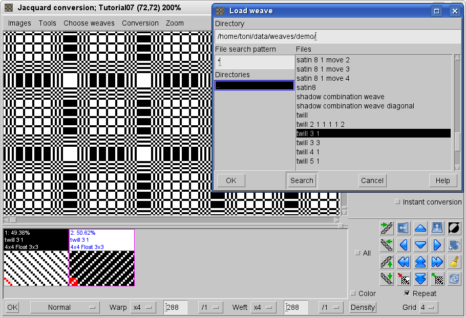 making jacquard fabric with ArahWeave software for weaving
