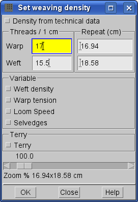 set weaving density in ArahWeave software for weaving