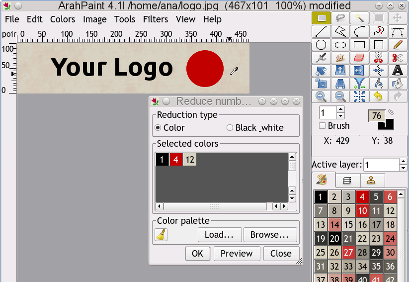 ArahPaint reduce colors